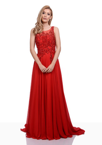 Abendkleid aus Chiffon mit Glitzerdekor in Salsa Red