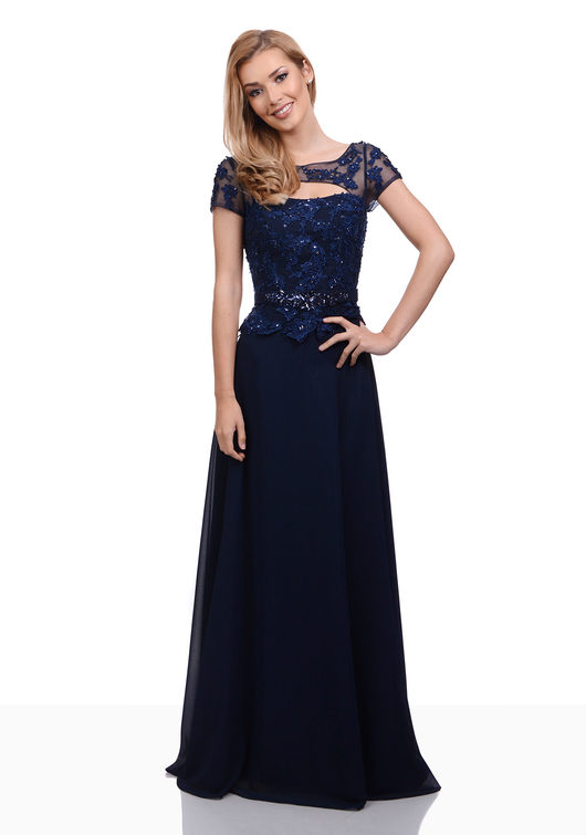 Evening dress in Etherea Brown made of chiffon with lace