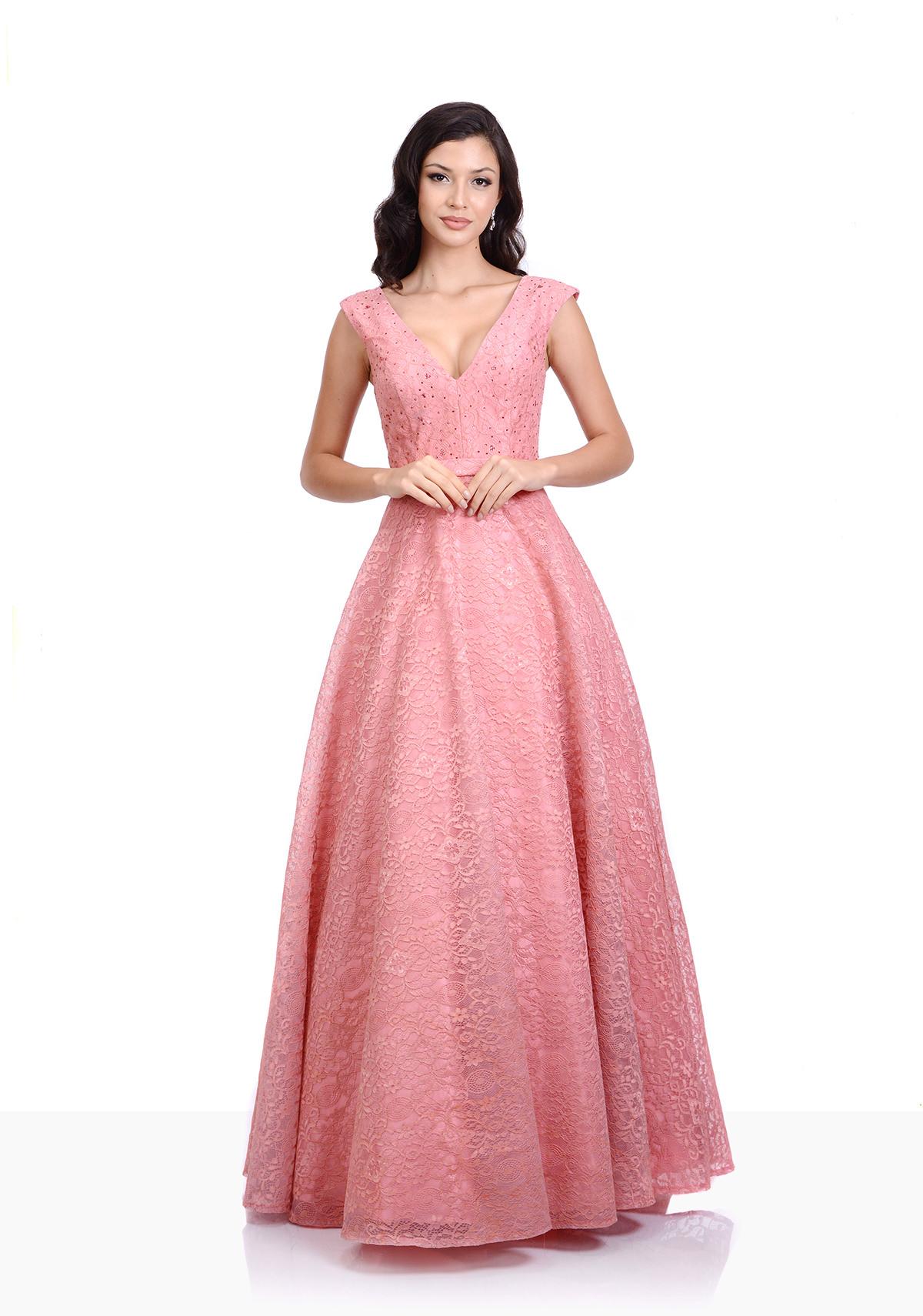 Abendkleid aus Spitze in Dawn Pink - Christian Koehlert