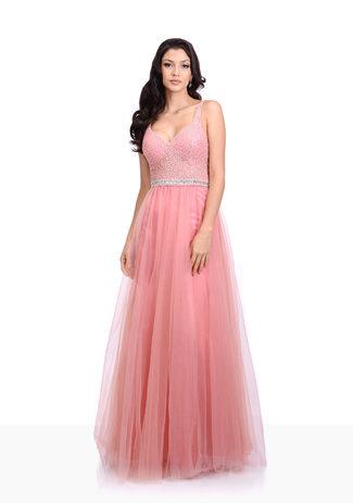 Tüll Abendkleid mit Strass in Geranium Pink