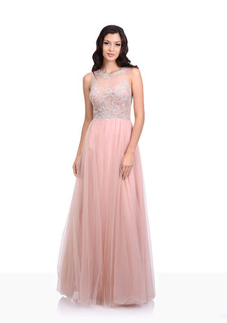 Tulle evening dress in Dawn Pink