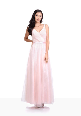 Tul Vestido de noche con Encaje en color Rosa Perla