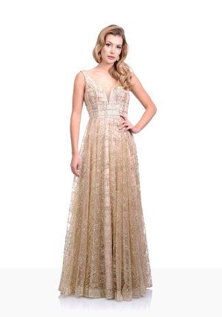 Bodenlanges Abendkleid in Gold
