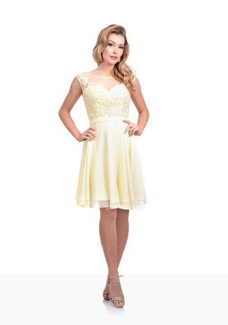 Cocktail dress in tulle with embroidery in French Vanilla