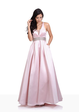 Evening dress made of Mikado in Pearl Pink with rhinestone belt