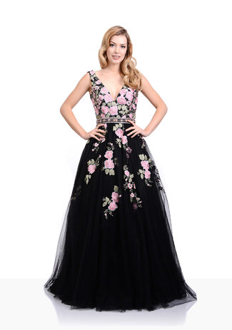 Abendkleid mit floralen Stickereien in Phantom Black