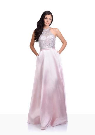 Neckholder Abendkleid in Pearl Pink aus Mikado