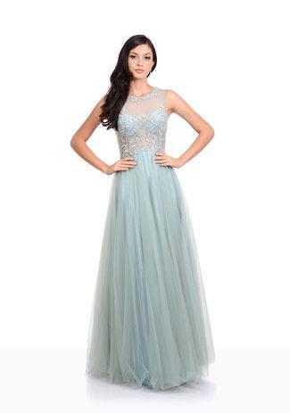 Tulle evening dress in Moonlight Jade