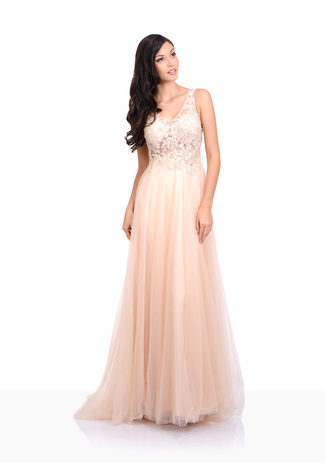 Tulle evening dress in Champagne