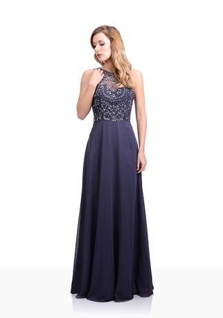 Chiffon evening dress in Iron Grey
