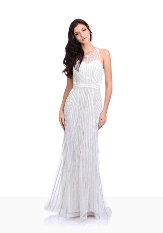 Rhinestone evening dress in Snow White