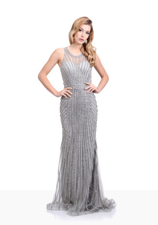 Rhinestone evening dress in Ghost Grey