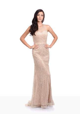 Strass Abendkleid in Night Beige