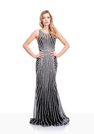 Strass Abendkleid in Phantom Black
