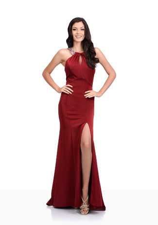 Evening dress with leg slit in Rio Red