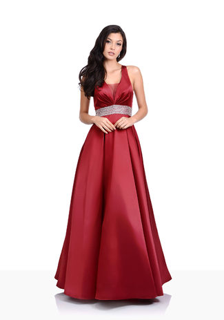 Evening dress made of Mikado in Salsa Red with rhinestone belt