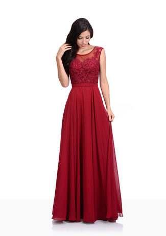 Chiffon evening dress with rhinestone appliqués in Rio Red