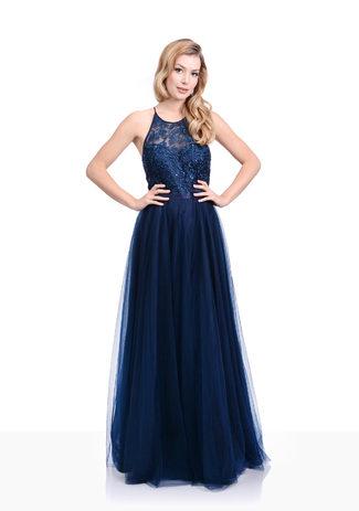 Besticktes Abendkleid Tüll in Twilight Blue