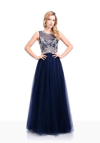 Tul Vestido de noche en Twilight Blue