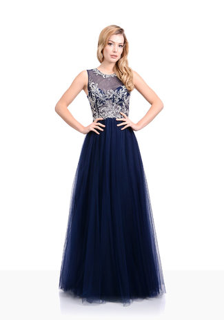 Tulle evening dress in Twilight Blue