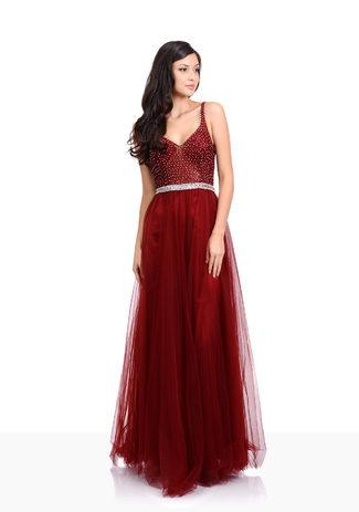 Tul Vestido de noche con diamantes de imitación en Rio Red