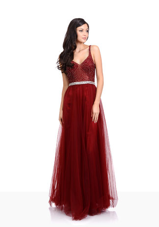 Tulle evening dress with rhinestone in Rio Red