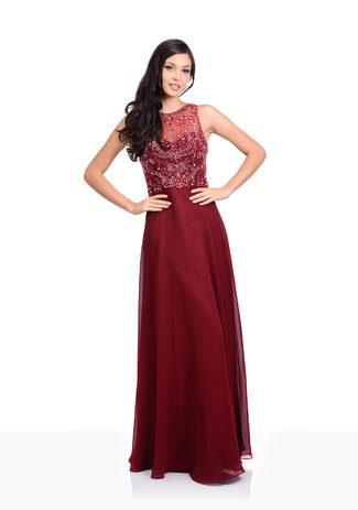 Chiffon evening dress in Rio Red