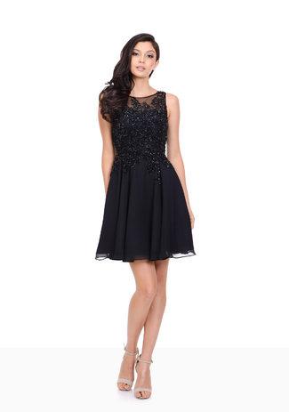 Tul vestido de Cóctel de Lentejuelas en Twilight Blue