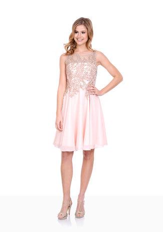Tul vestido de Cóctel con diamantes de imitación de color Rosa Perla