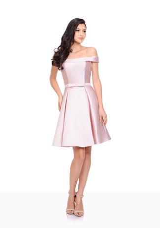 Vestido de Cóctel vestido de Mikado en color Rosa Perla