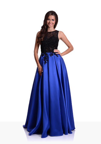 Mikado evening dress in Palace Blue