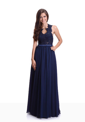 Chiffon Abendkleid in Twilight Blue