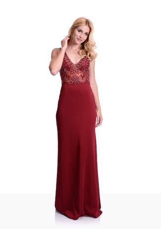 Jersey Abendkleid in Rio Red