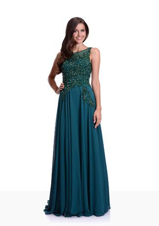 Abendkleid aus Chiffon mit Glitzerdekor in Posy Green mit geschlossenem Rücken