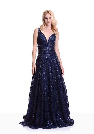 Elegante Vestido de noche en Twilight Blue