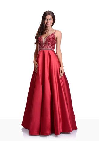 Mikado Abendkleid in Rio Red