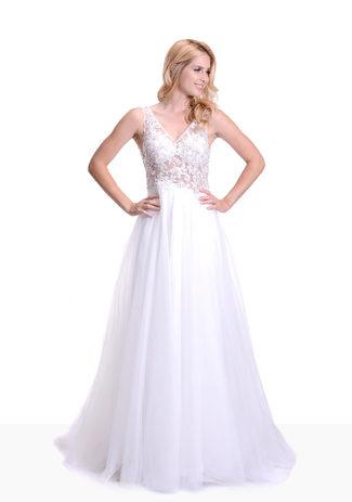 Tüll Abendkleid / Brautkleid mit Spitze in Snow White