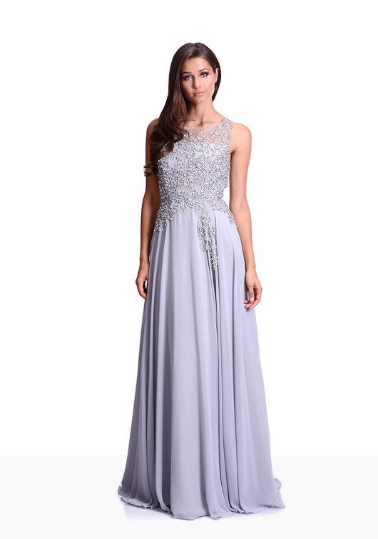 Elegante Vestido de noche de Gasa en Ghost Gray cerrado en la Espalda