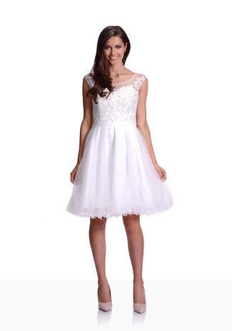 Vestido de noche de Tul con Bordados en Blanco