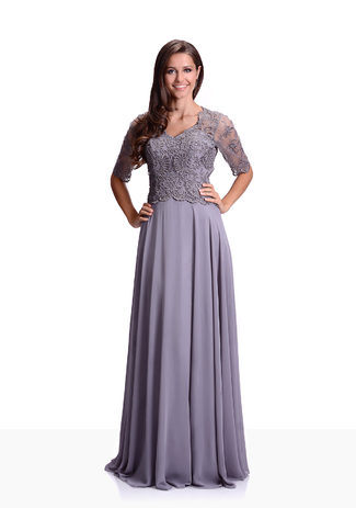 Chiffon evening dress with half length Sleeves in Ghost Grey