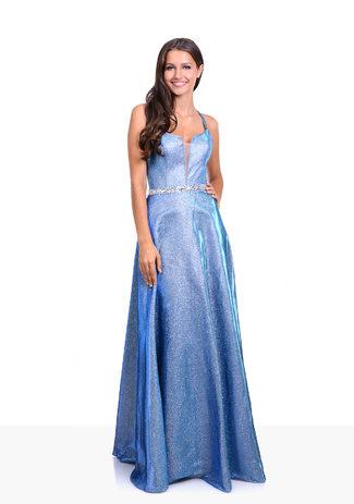 Glitzerabendkleid mit Paillettenbesetztem Taillenband in Ice Blue