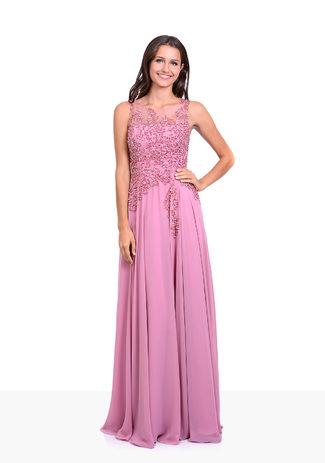 Bodenlanges Chiffon Abendkleid mit Paillettenverzierung in Geranium Pink
