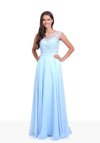 Abendkleid aus Chiffon mit Steinbesatz in Aqua Blue
