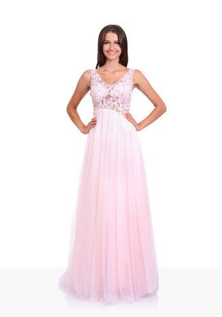 Tüll Abendkleid mit Glanzdekor in Pearl Pink
