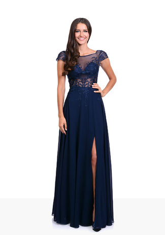 Chiffon evening dress with embroidery in Twilight Blue
