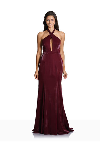 Neckholder Abendkleid mit raffiniertem Rückenausschnitt in Shining Rio Red