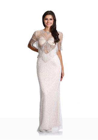 Bordado Vestido de noche colgante con Strassapplikation en Champagne