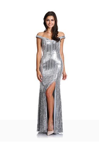 Paillettenbesetzes Offshoulder Abendkleid in Silver