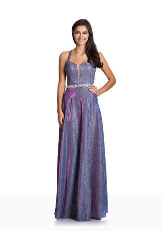 Glitzerabendkleid mit Paillettenbesetztem Taillenband in Glitter Purple