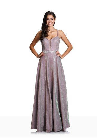 Glitzerabendkleid mit Paillettenbesetztem Taillenband in Glitter Lilac